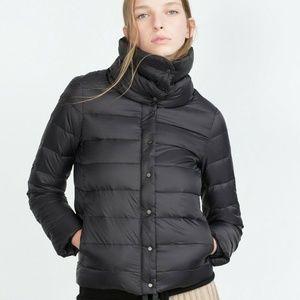 ZARA WOMAN Feather Down Puffer Packable Jacket XS